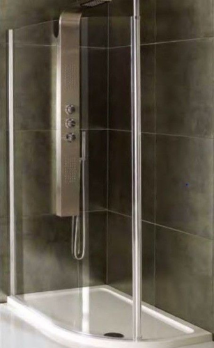 Valliant Round Pole Walk In, Offset, Wetroom Glass Screen - Various Sizes